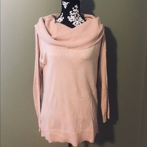 Super soft, pink, loose neck sweater